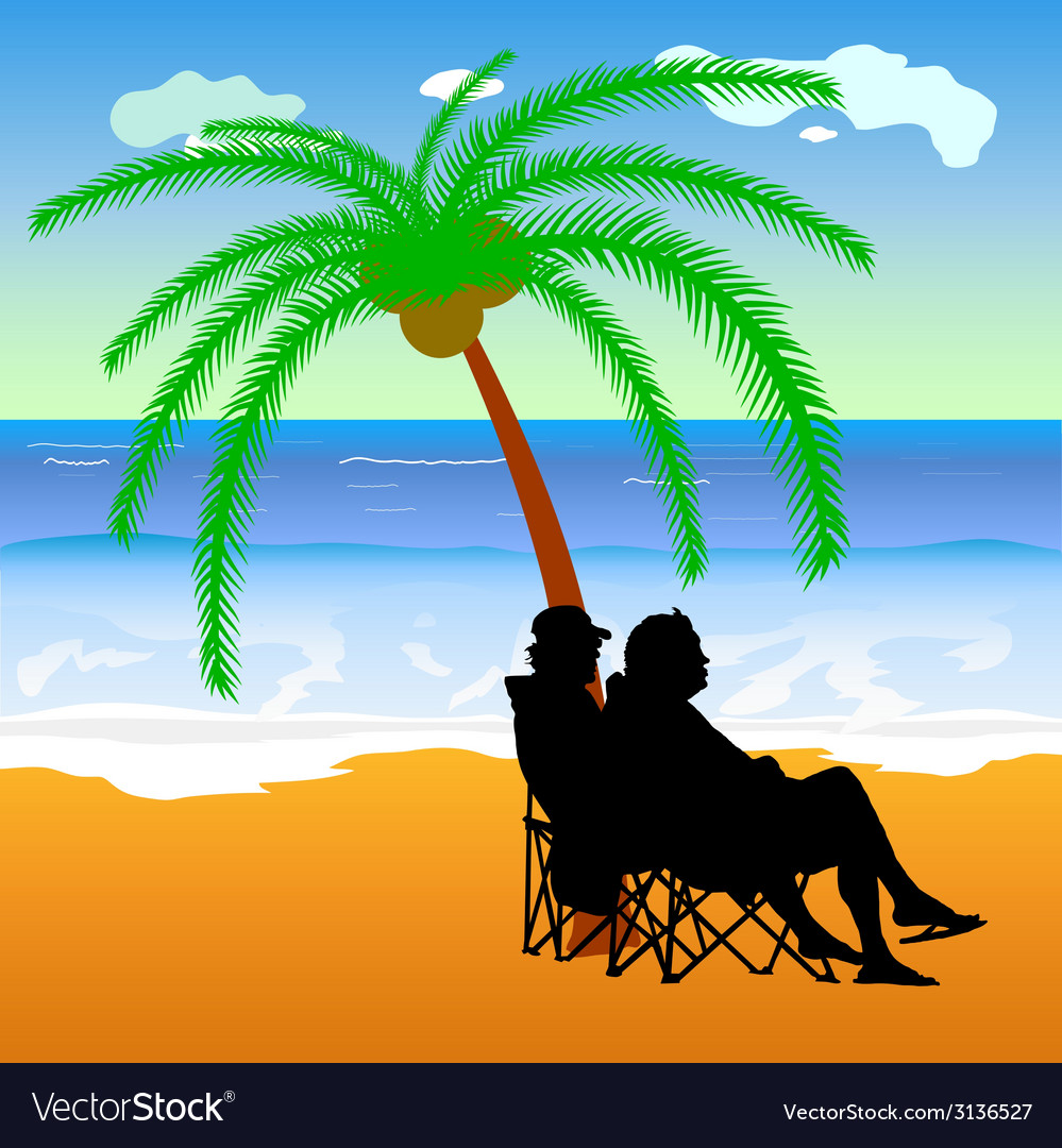 Couple sitting under palm on the beach vector | Price: 1 Credit (USD $1)