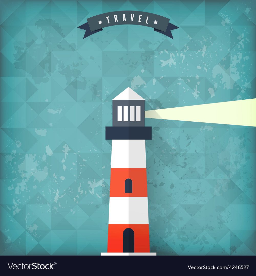 Flat lighthouse on old vintage background vector | Price: 1 Credit (USD $1)