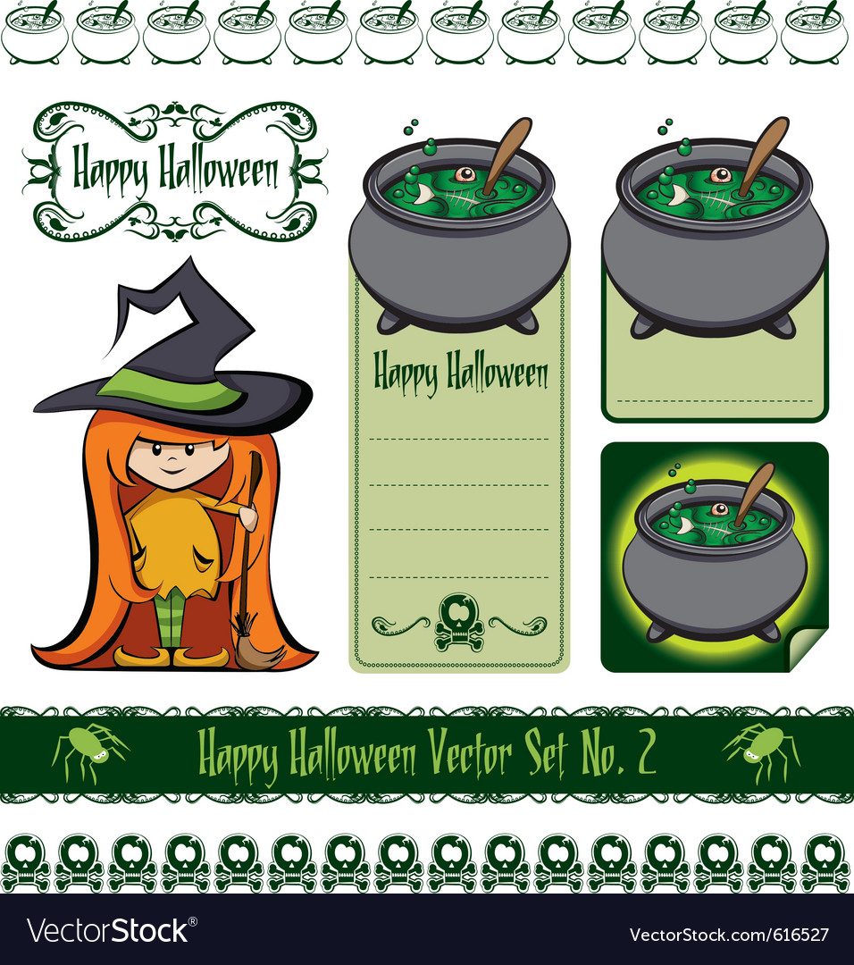 Halloween witch set vector | Price: 1 Credit (USD $1)
