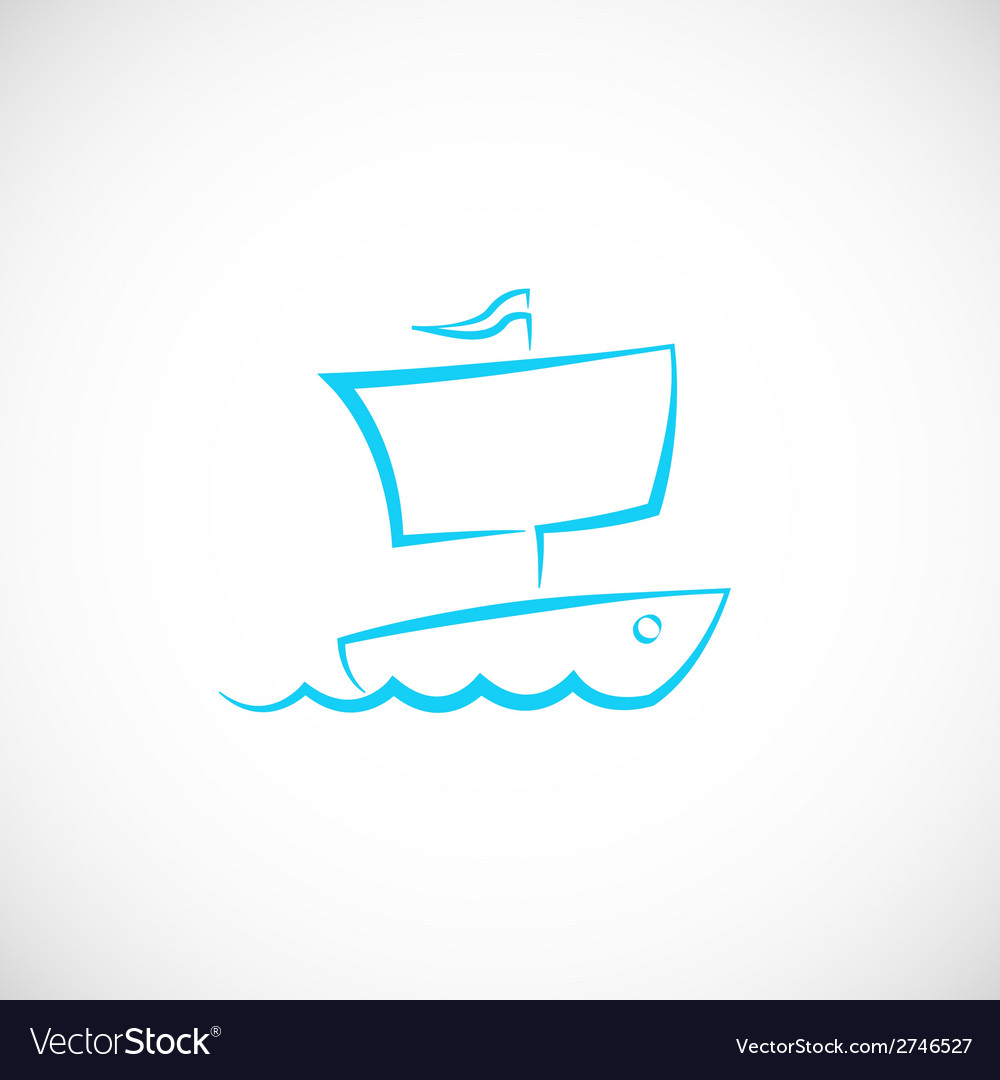 Sailing boat hand drawn symbol icon or logo vector | Price: 1 Credit (USD $1)