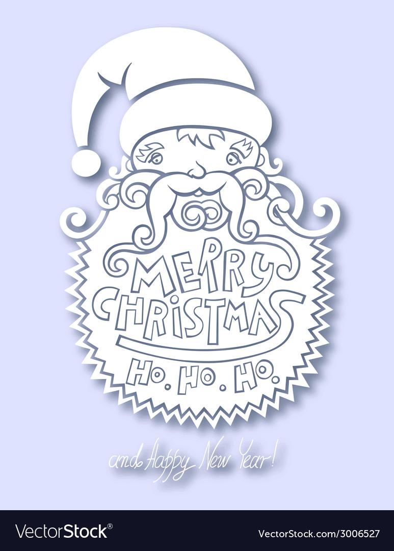 Santa claus head merry christmas happy new year vector | Price: 1 Credit (USD $1)
