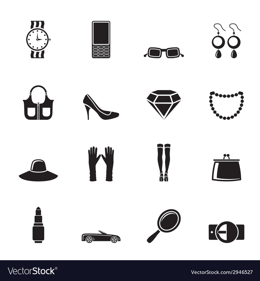 Silhouette woman and female accessories icons vector | Price: 1 Credit (USD $1)