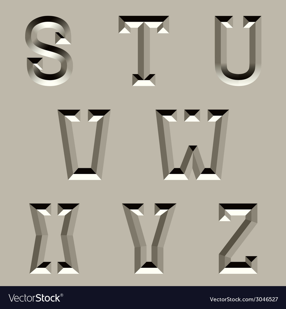 Stone carved alphabet font - part 3 vector | Price: 1 Credit (USD $1)
