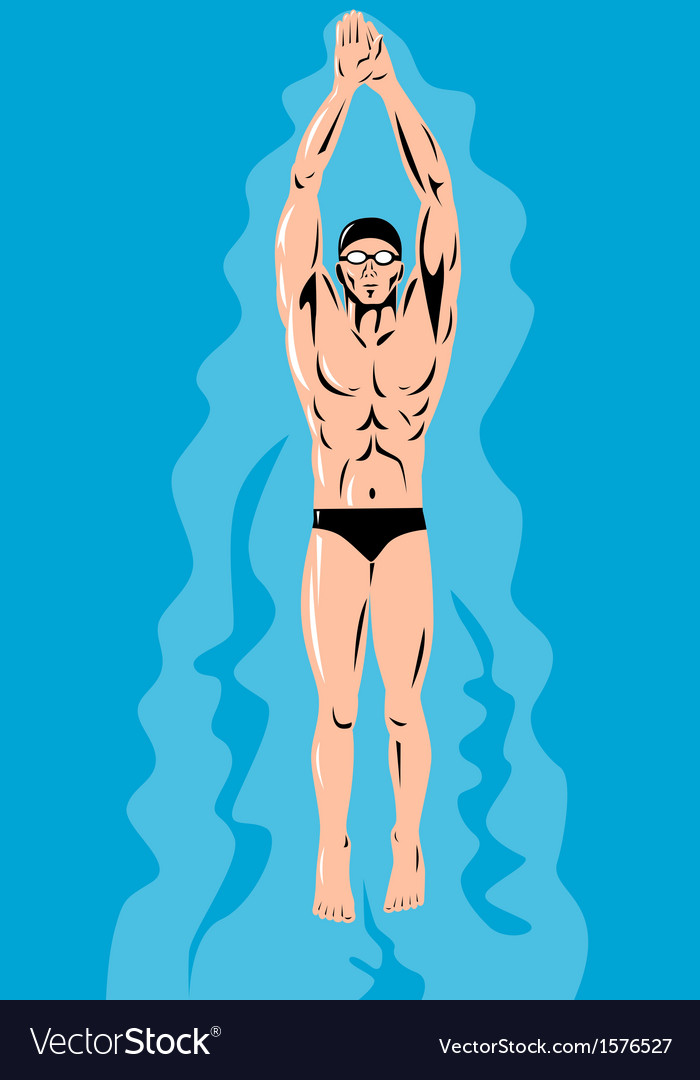 Swimmer streamline retro vector | Price: 1 Credit (USD $1)