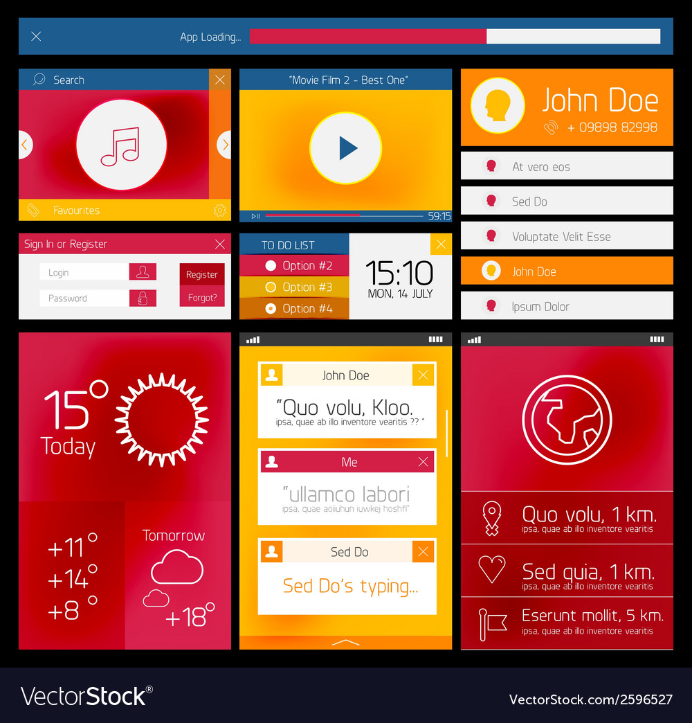 Ui flat web and mobile element vector | Price: 1 Credit (USD $1)