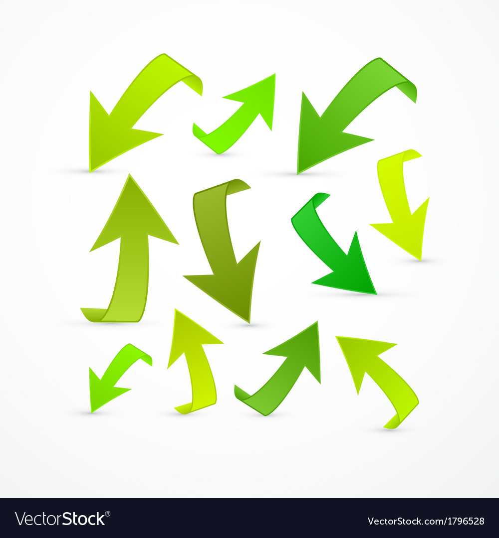 Abstract green arrows set vector | Price: 1 Credit (USD $1)