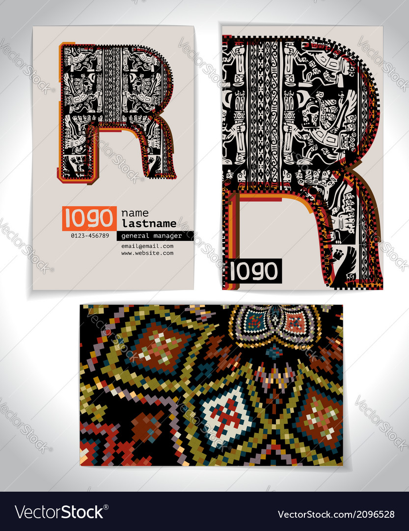 Ancient business card design letter r vector   Price: 1 Credit (USD $1)