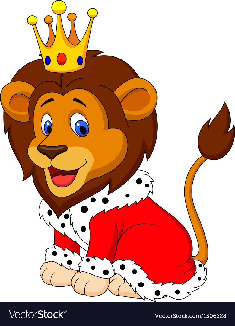 Cartoon lion in king outfit vector | Price: 1 Credit (USD $1)