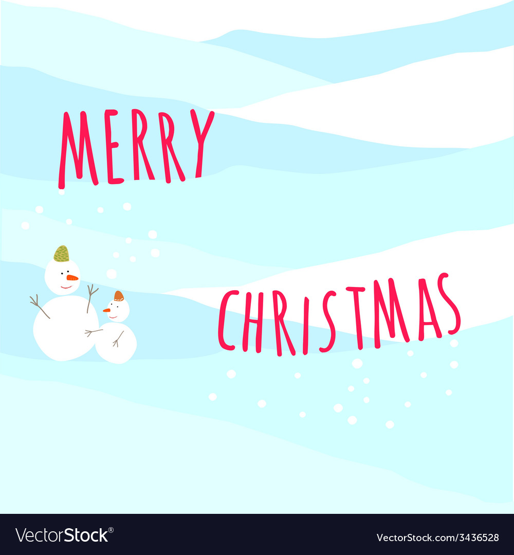 Christmas greeting card with snow man vector | Price: 1 Credit (USD $1)