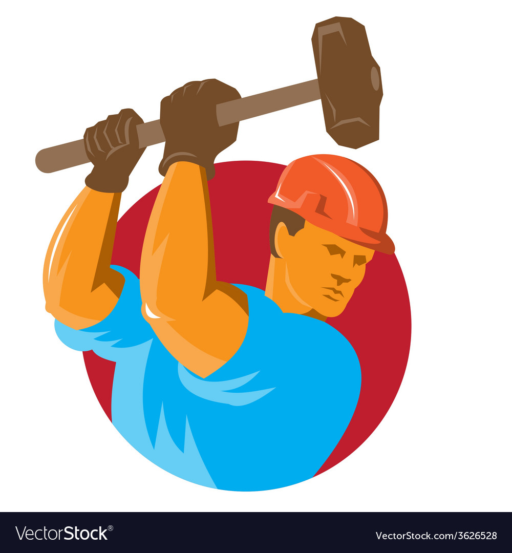 Construction worker with sledgehammer vector   Price: 1 Credit (USD $1)