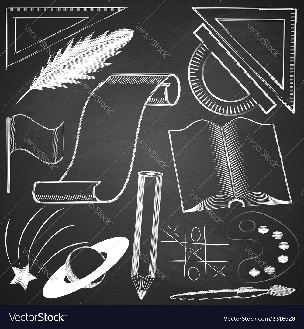 Elements made by hand with chalk on blackboard vector | Price: 1 Credit (USD $1)