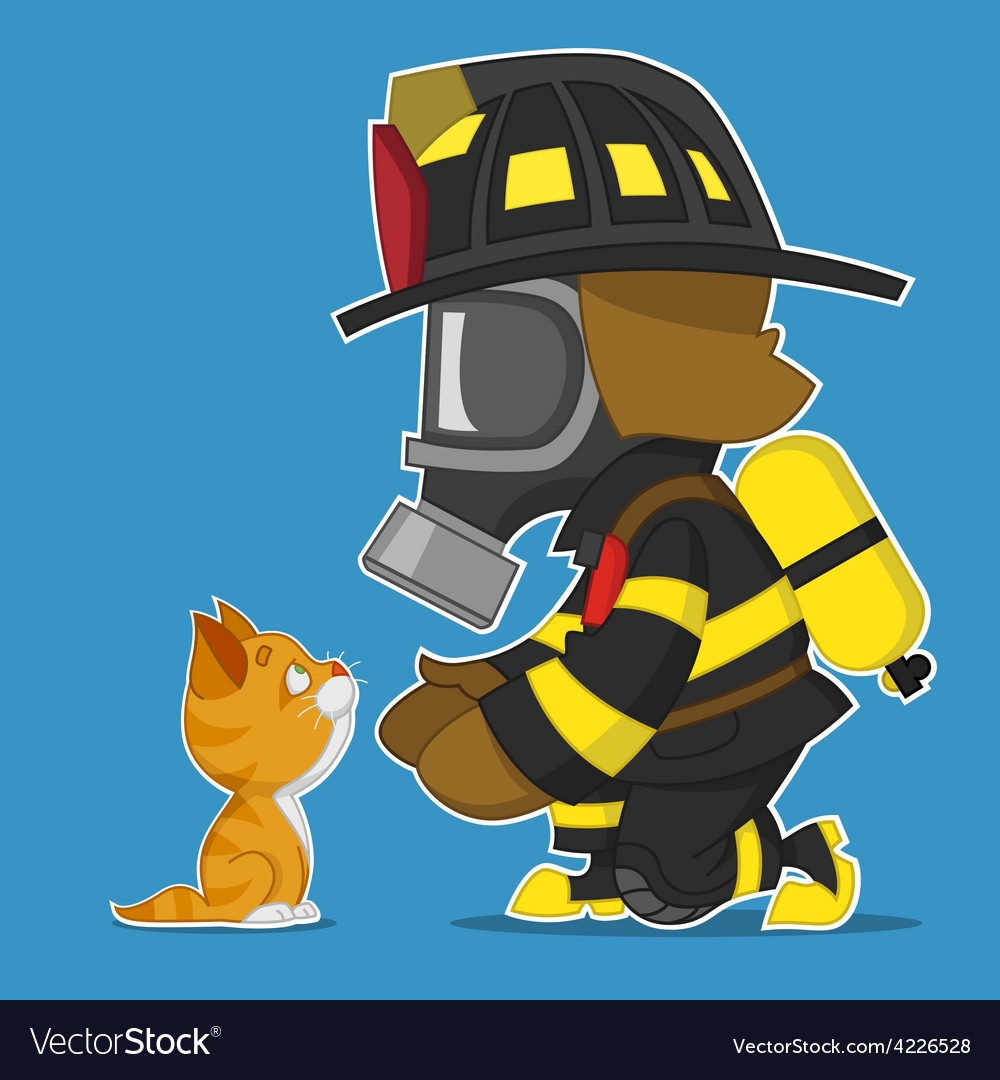 Firefighter and kitten vector   Price: 3 Credit (USD $3)