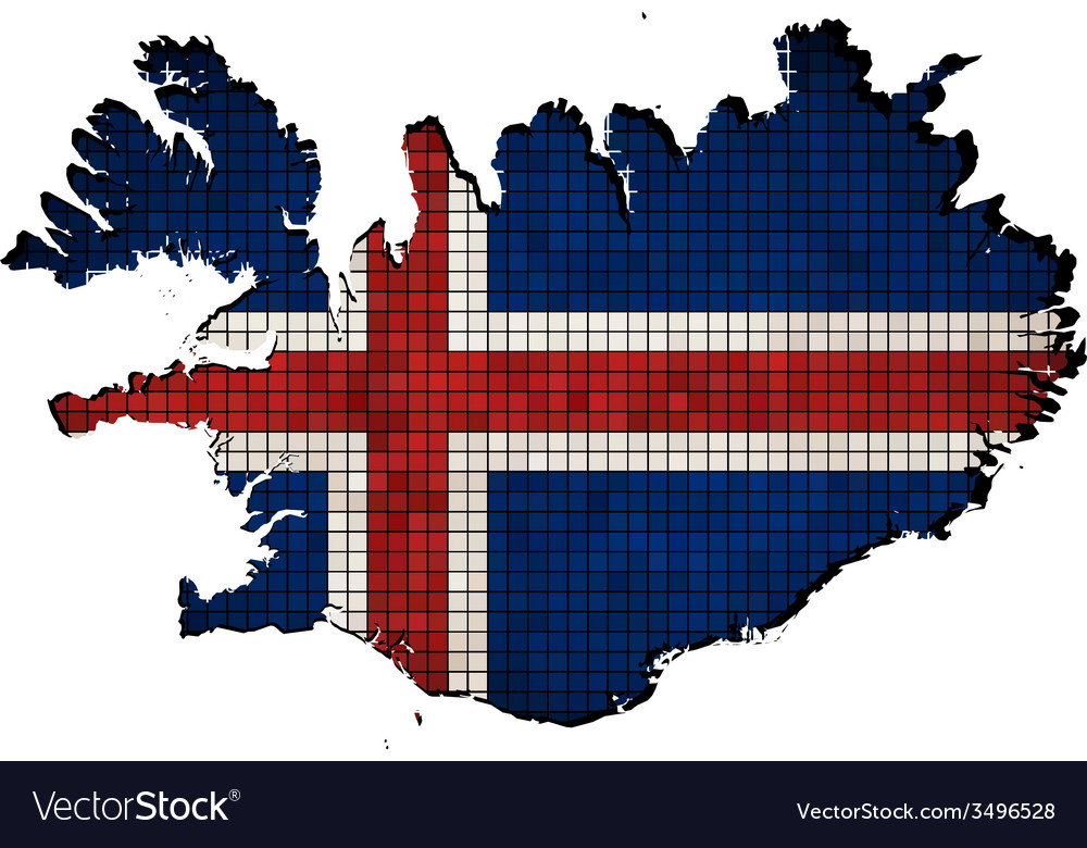 Iceland map with flag inside vector | Price: 1 Credit (USD $1)