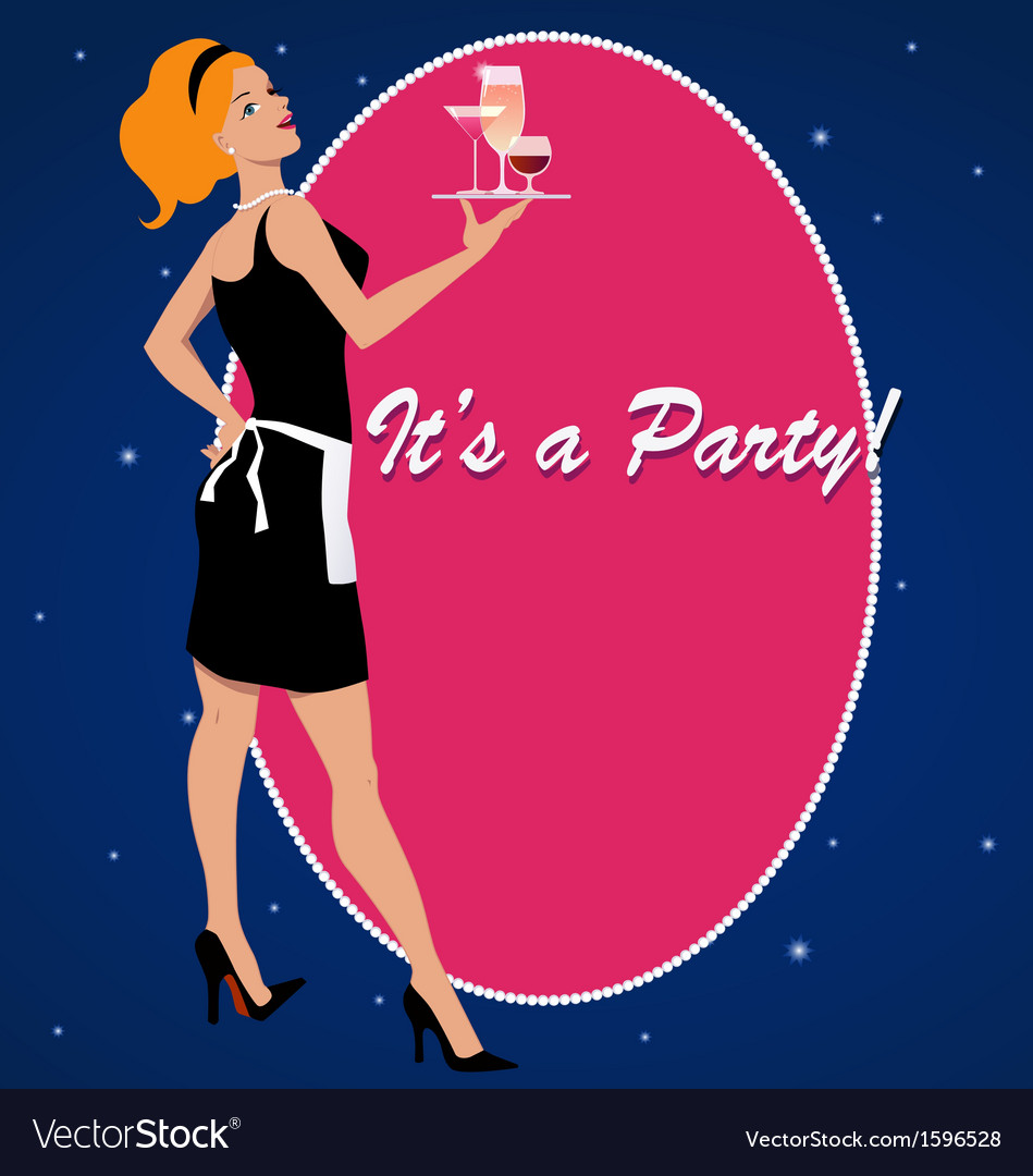 Party invitation with a cocktail waitress vector | Price: 1 Credit (USD $1)