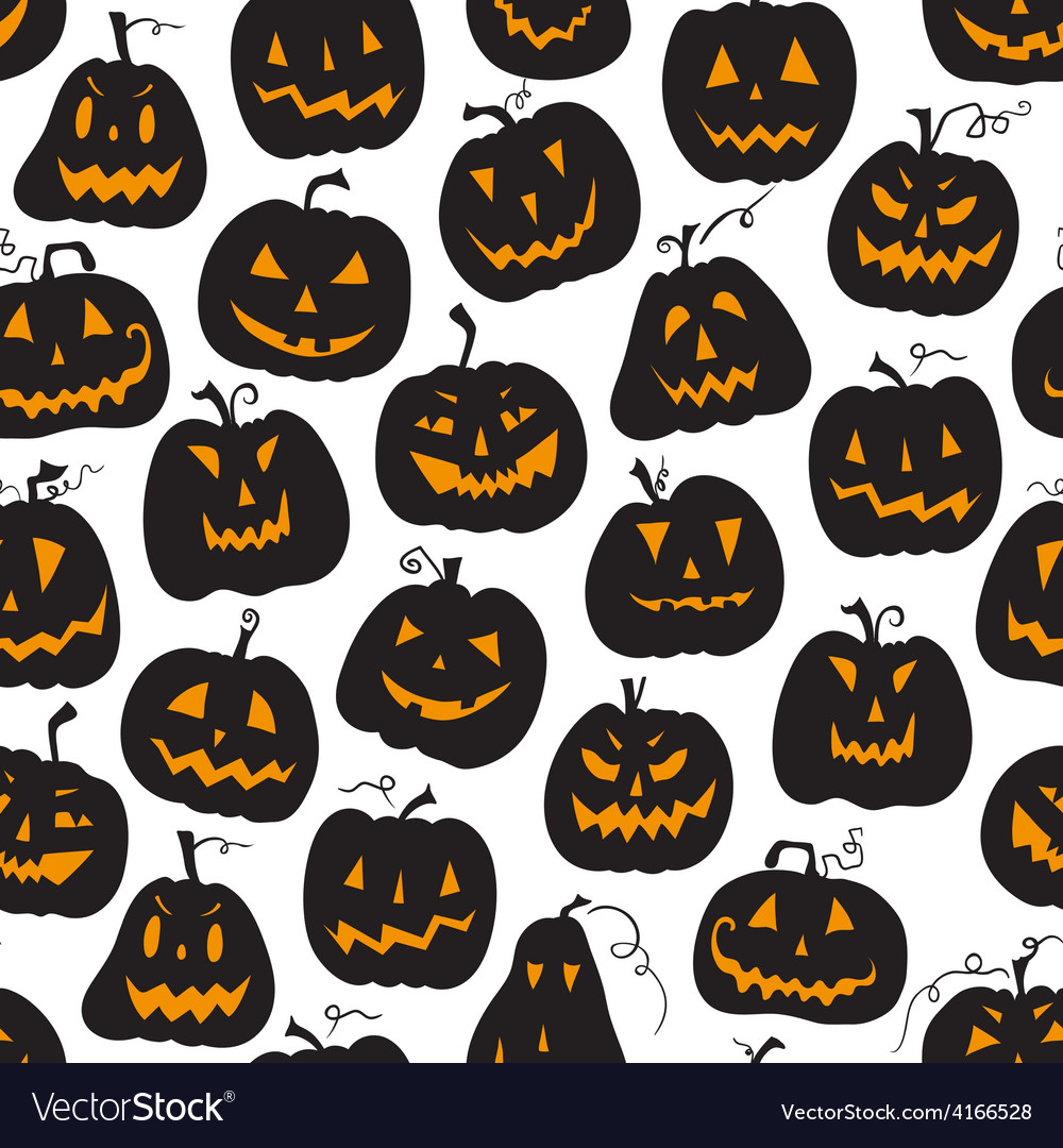 Pattern with pumpkins halloween holiday seamless vector | Price: 1 Credit (USD $1)