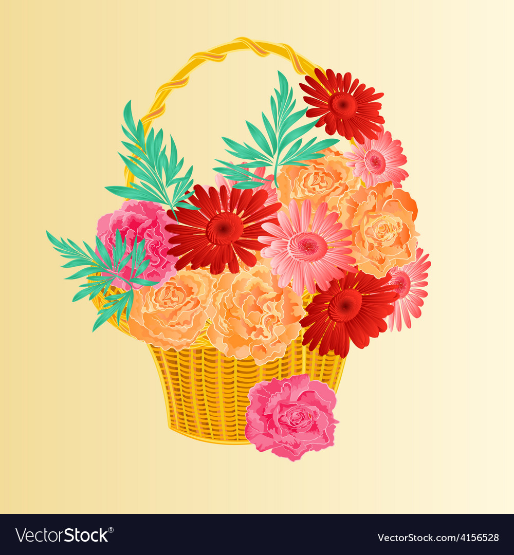 Roses and gerber as in a basket festive background vector | Price: 1 Credit (USD $1)