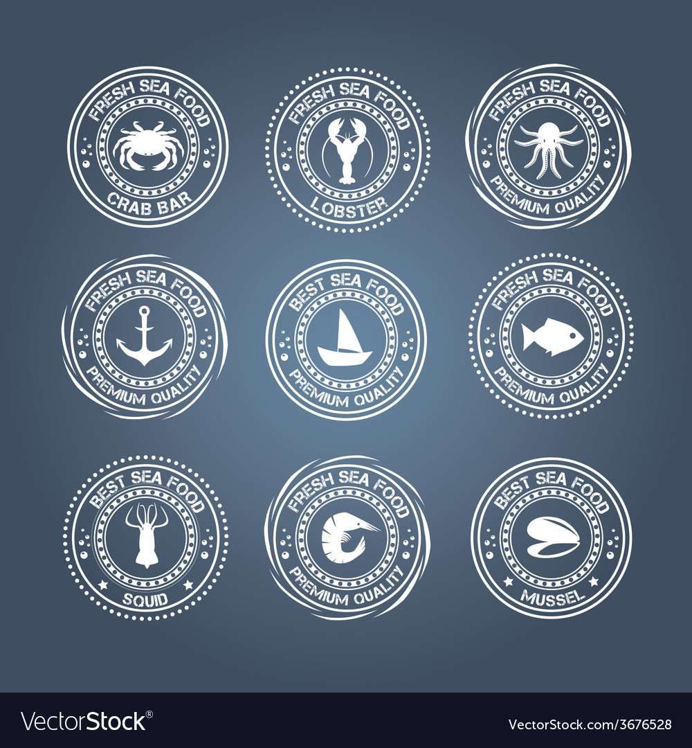 Set of vintage and modern seafood logo restaurant vector | Price: 1 Credit (USD $1)