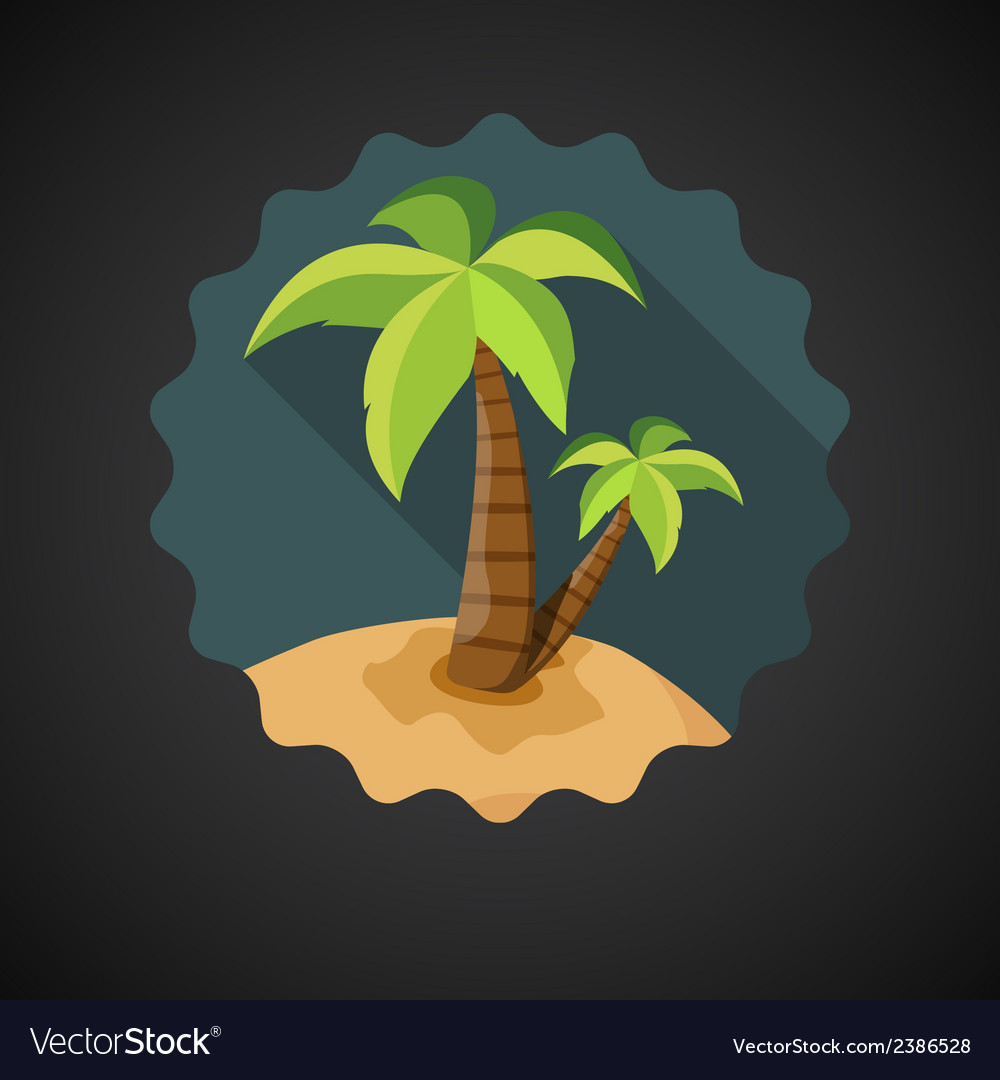 Summer travel sea island with palm flat icon vector | Price: 1 Credit (USD $1)