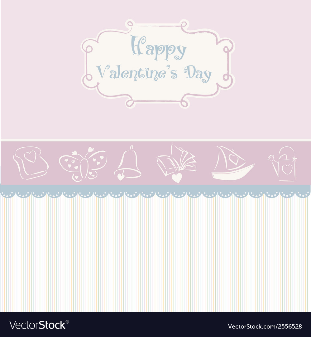 Vintage valentines day card vector | Price: 1 Credit (USD $1)