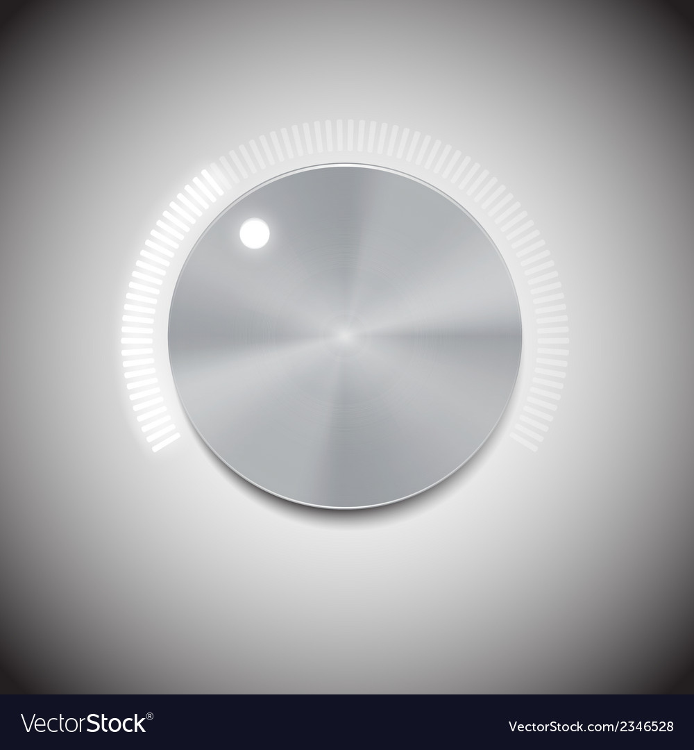 Volume button with metal texture and neon light vector | Price: 1 Credit (USD $1)