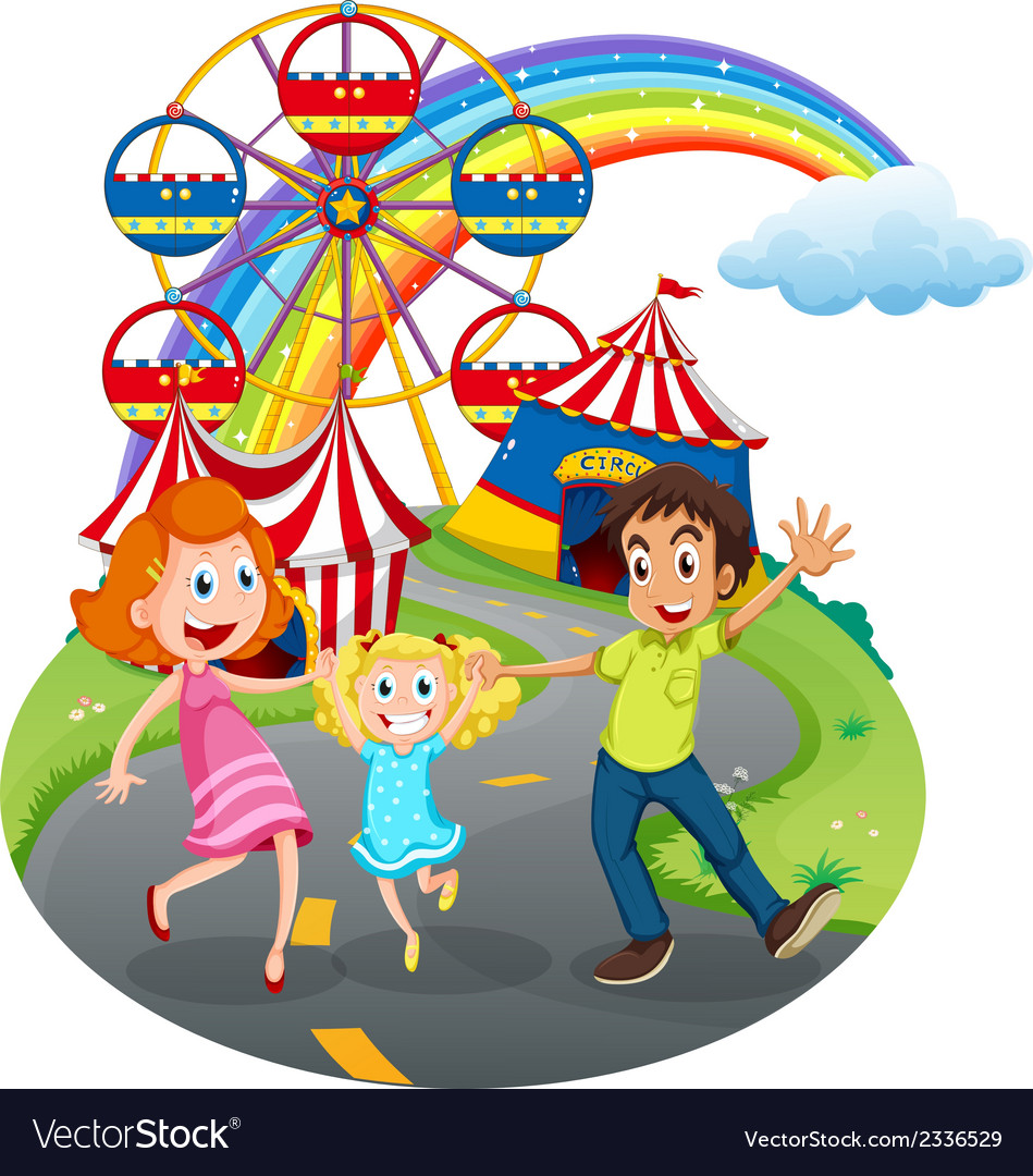 A family at the carnival vector | Price: 3 Credit (USD $3)