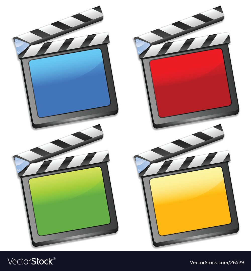 Coloured clapper boards vector | Price: 1 Credit (USD $1)