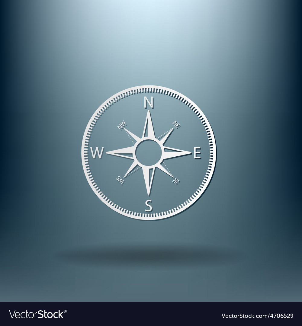 Compass icon orienteering traveling or camping in vector | Price: 1 Credit (USD $1)