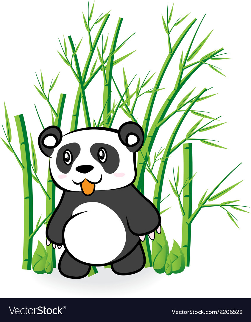 Cute panda bear in bamboo forrest 01 vector | Price: 1 Credit (USD $1)