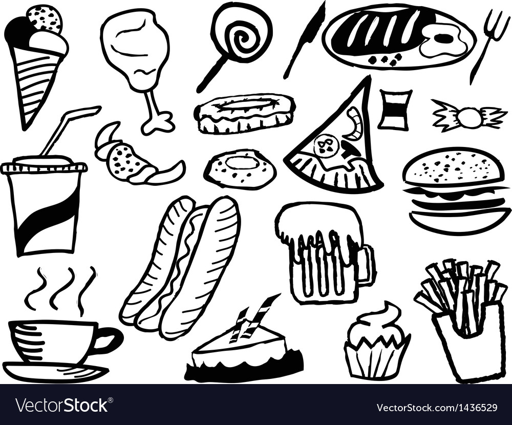 Doodle junk food background vector | Price: 1 Credit (USD $1)