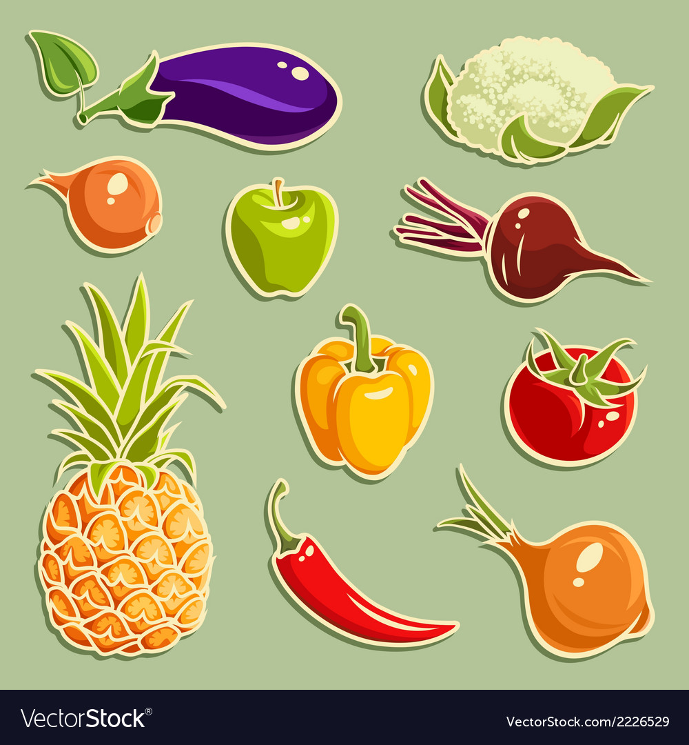 Fruits and vegetables set 2 vector | Price: 1 Credit (USD $1)