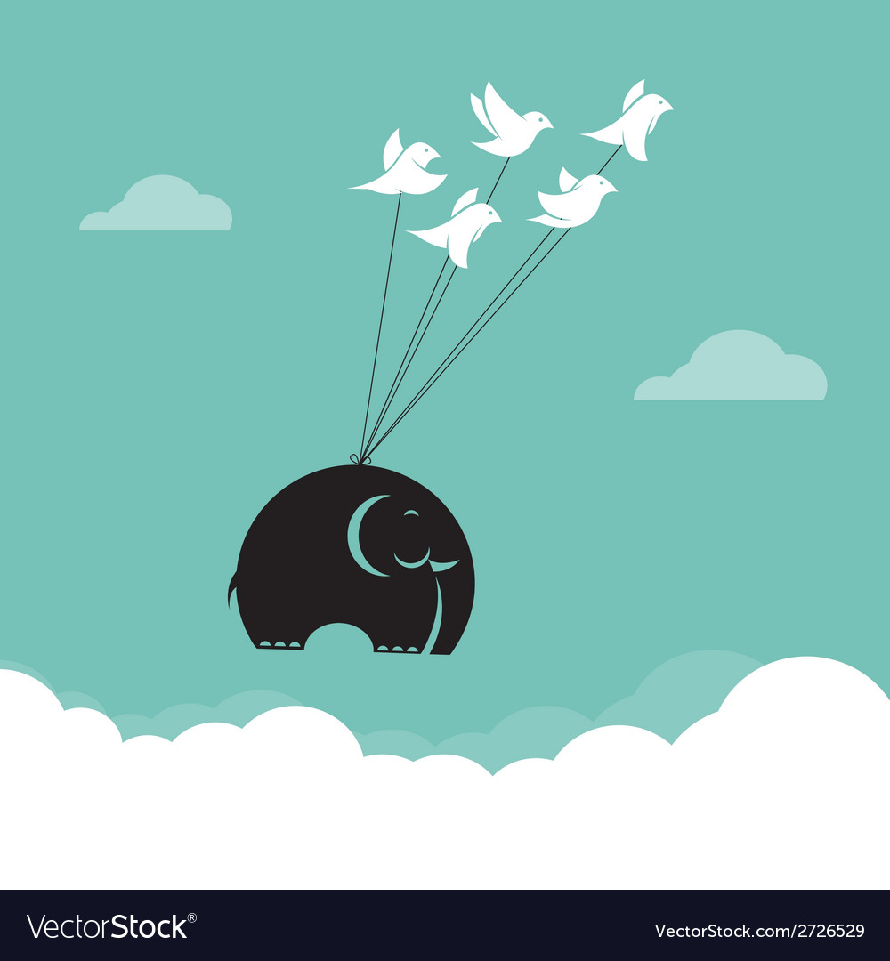 Image of bird and elephant in the sky vector | Price: 1 Credit (USD $1)