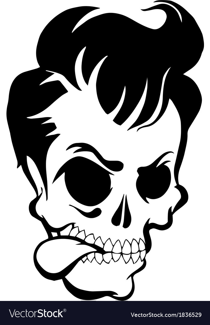 Pompadour skull vector | Price: 1 Credit (USD $1)