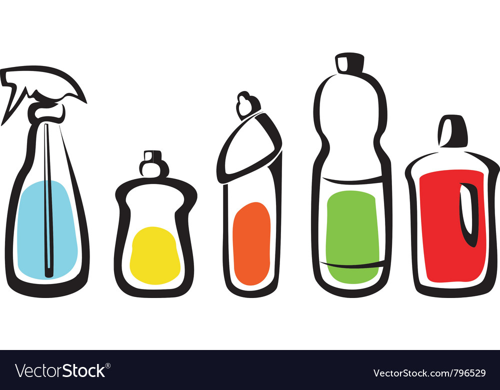 Set of bottles with washing agents vector | Price: 1 Credit (USD $1)