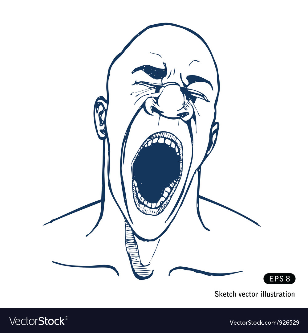 Shouting or yawning or tired man vector | Price: 1 Credit (USD $1)