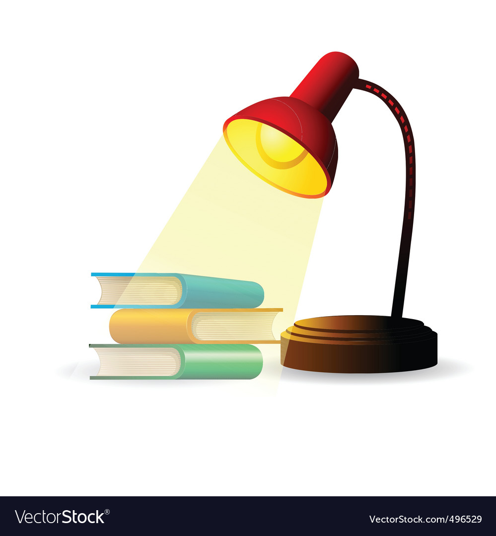 Study lamp with books vector | Price: 1 Credit (USD $1)