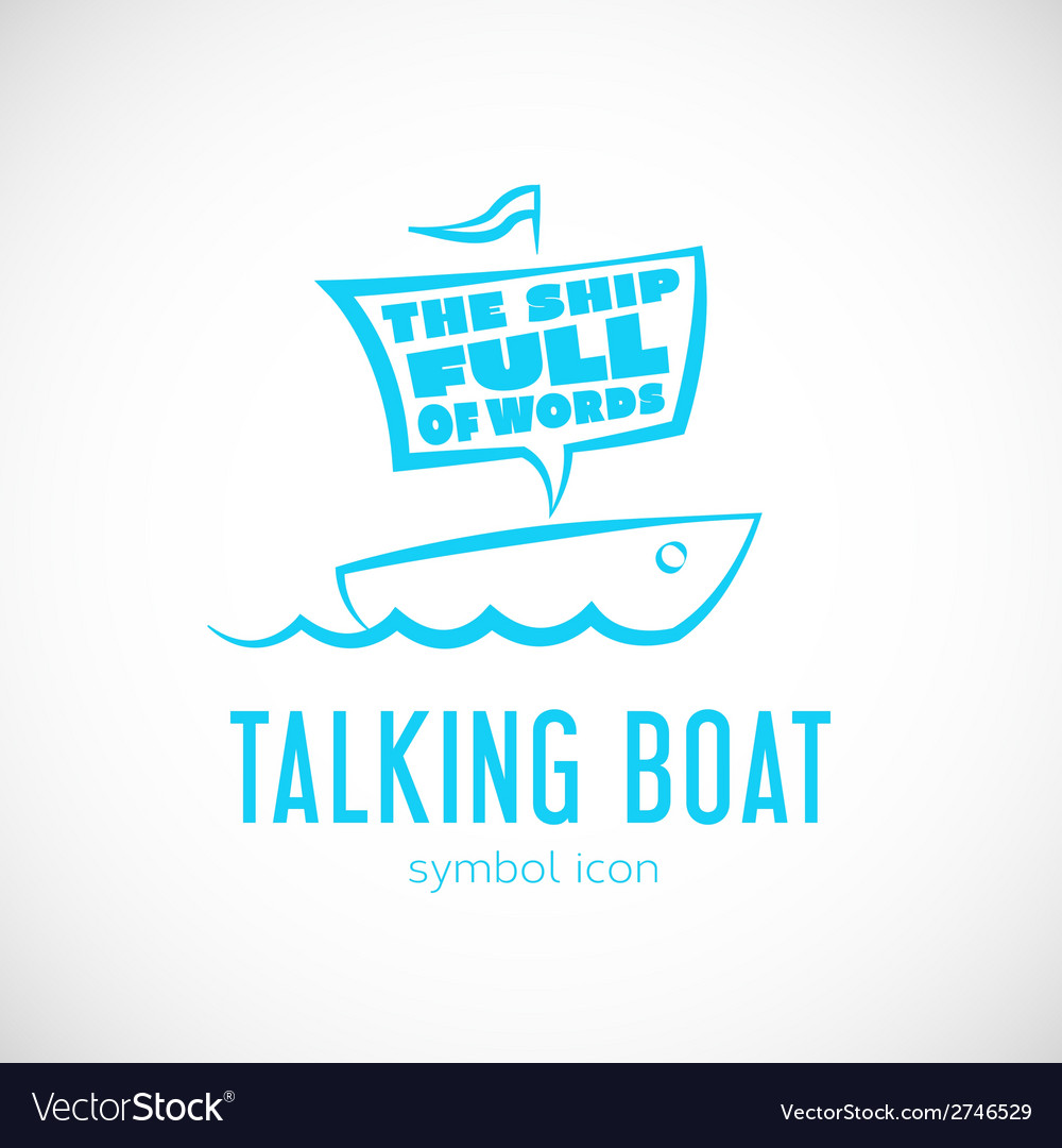 Talking cloud and sailing boat concept symbol icon vector | Price: 1 Credit (USD $1)