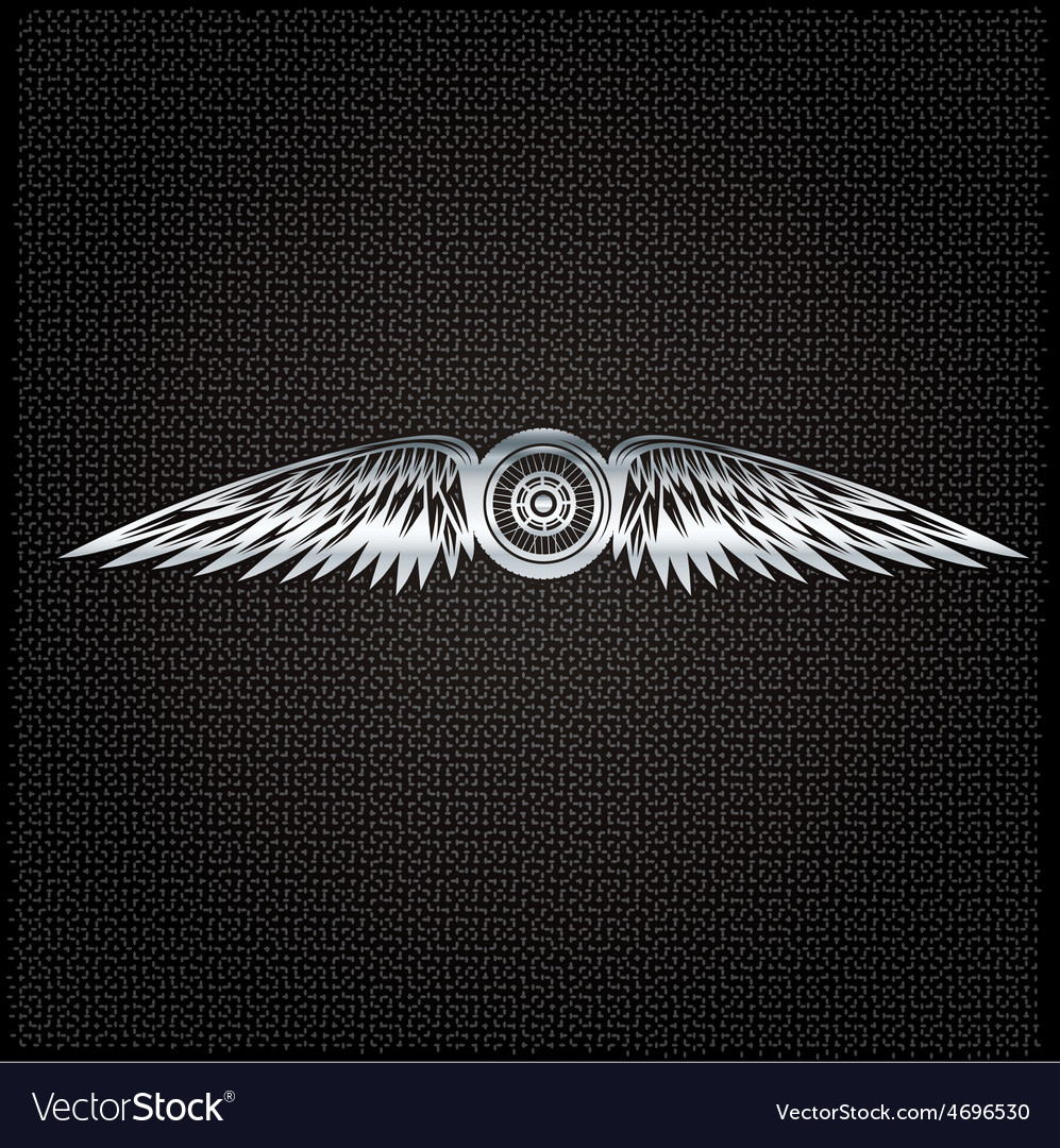 Biker theme silver label with wheelbike and wings vector | Price: 1 Credit (USD $1)