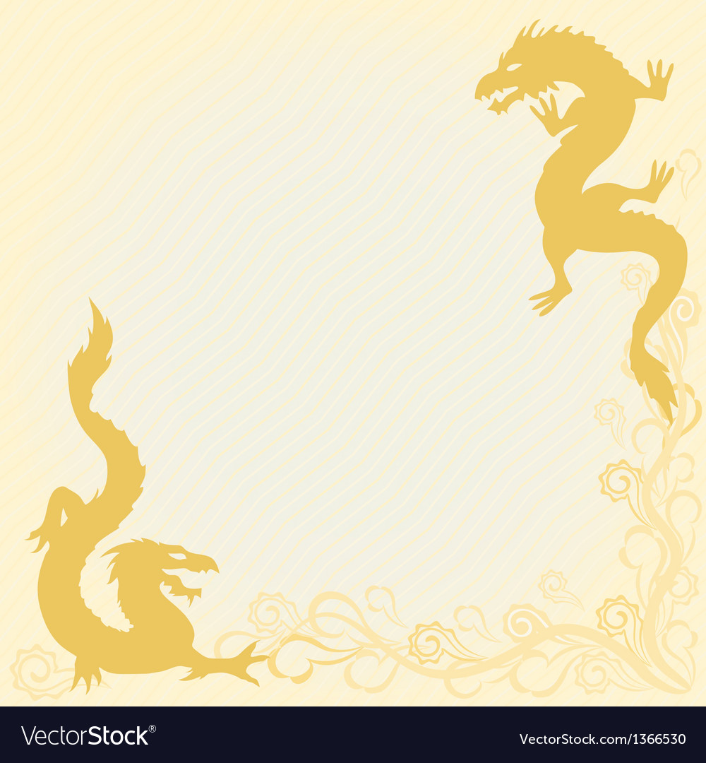 Card with dragons in eastern style vector | Price: 1 Credit (USD $1)