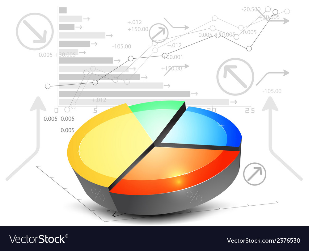 Colorful pie chart on a white background vector | Price: 1 Credit (USD $1)
