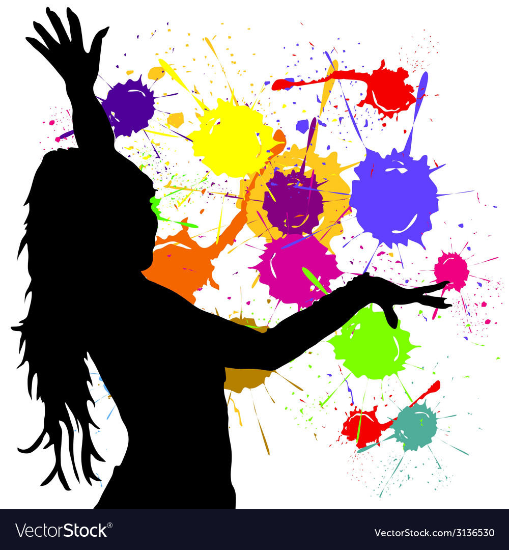 Dancing girl silhouette vector | Price: 1 Credit (USD $1)