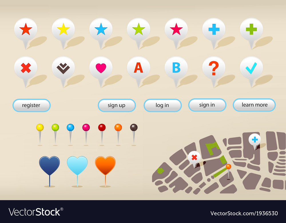 Gps navigation markers and website elements vector | Price: 1 Credit (USD $1)