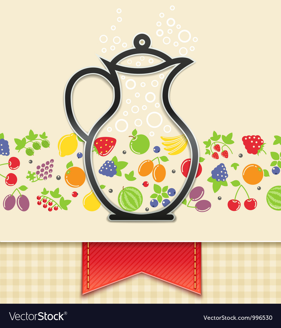 Jug with fruit and berry vector | Price: 3 Credit (USD $3)