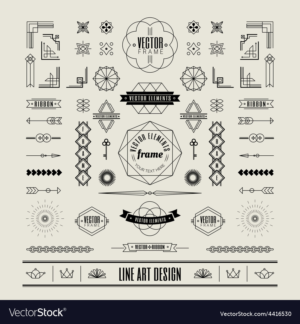 Linear thin line art deco retro vintage design vector | Price: 1 Credit (USD $1)