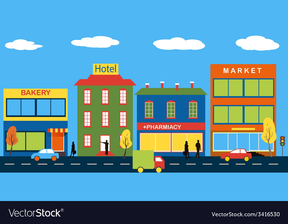 Set of buildings in the style small business flat vector | Price: 1 Credit (USD $1)