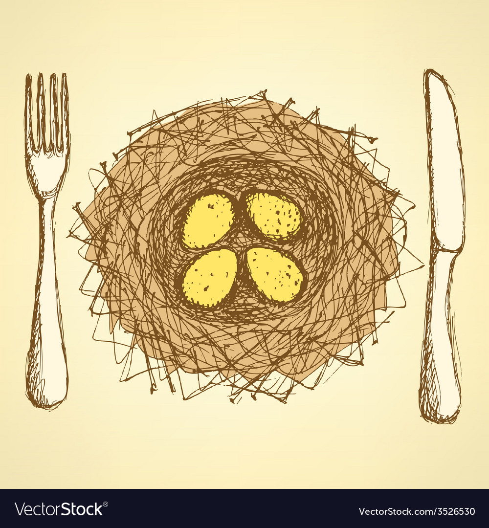 Sketch nest plate with fork and knife in vintage vector | Price: 1 Credit (USD $1)