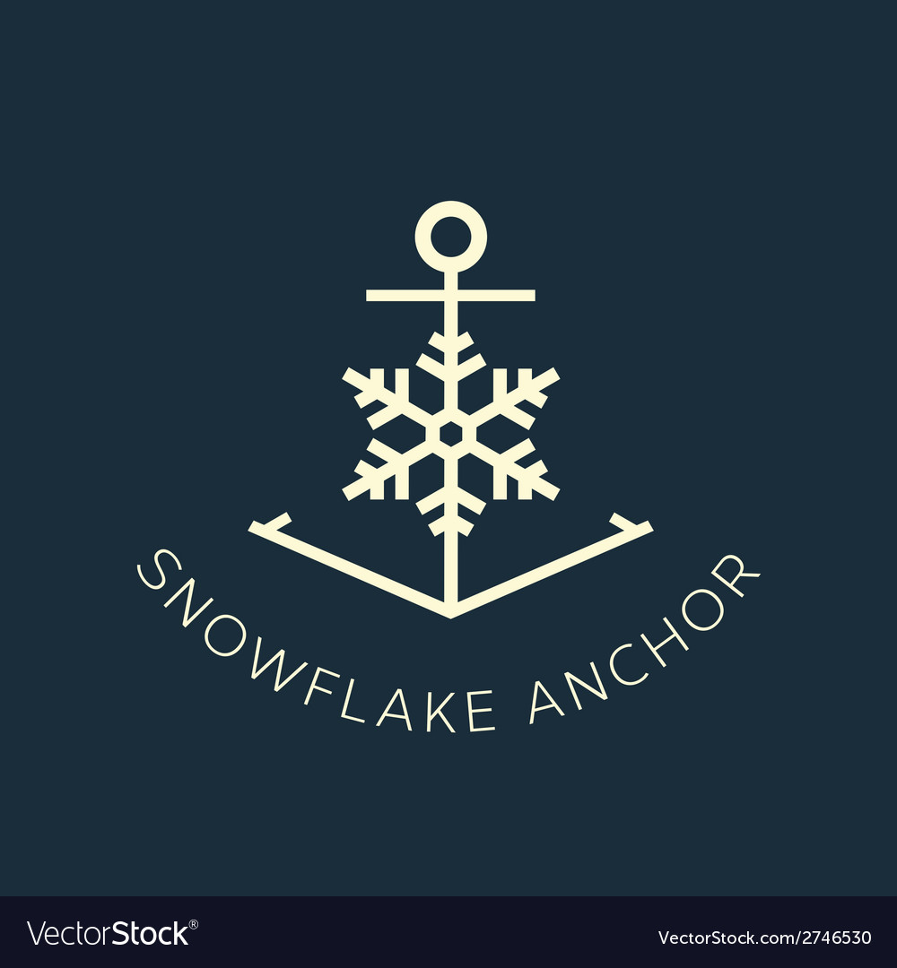 Snowflake anchor concept symbol icon or logo vector | Price: 1 Credit (USD $1)