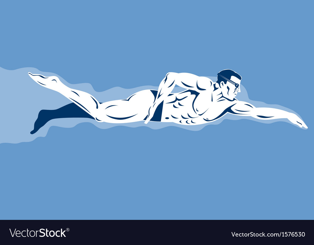 Swimmer freestyle retro vector | Price: 1 Credit (USD $1)