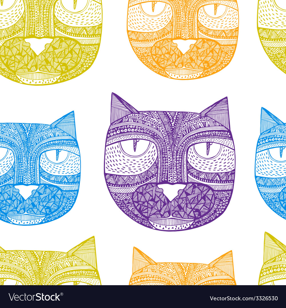 Tribal seamless pattern with hand drawn cats vector | Price: 1 Credit (USD $1)