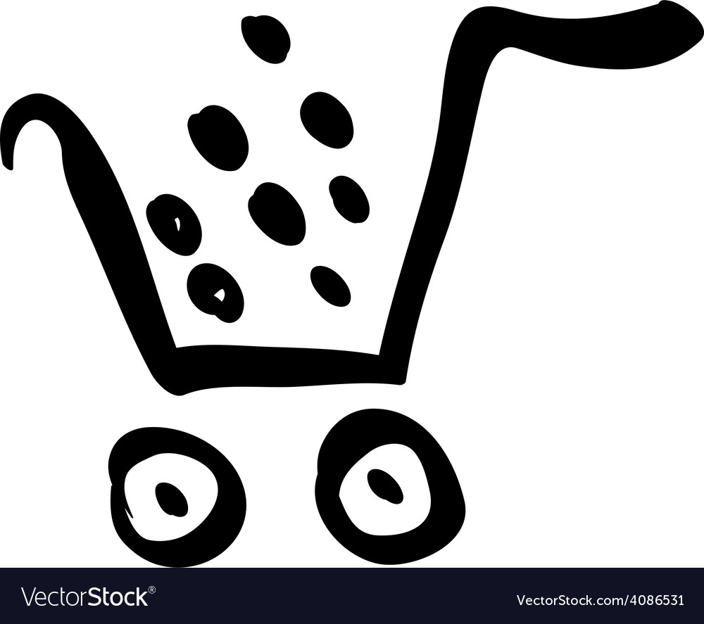 Black shopping cart icon trolley isolated on vector | Price: 1 Credit (USD $1)