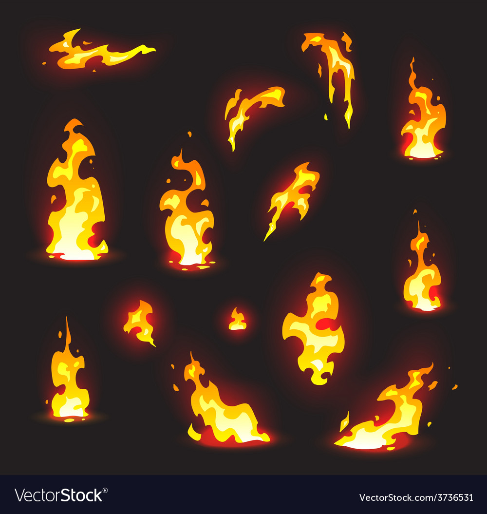 Cartoon style fire effects on a dark background vector | Price: 1 Credit (USD $1)